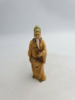 Chinese Old Wise Man Long White Beard Small FigurineIvory Effect Vintage Look