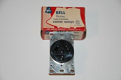 Vintage 1950s BELL ELECTRIC Deluxe FLUSH Mounting POWER OUTLET #160 - NEW