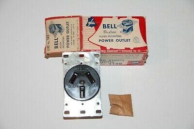 Vintage 1950s BELL ELECTRIC Deluxe FLUSH Mounting POWER OUTLET #162 - NEW