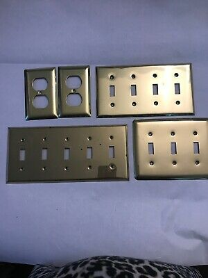 Vintage Solid Brass Dual Switch Cover Plate Set of 5
