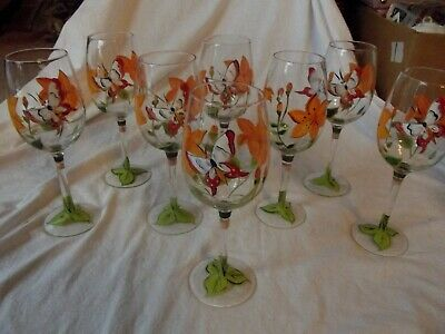 Set (8) Wine Goblets Glasses Blown crystal hand painted Tiger lily butterfly