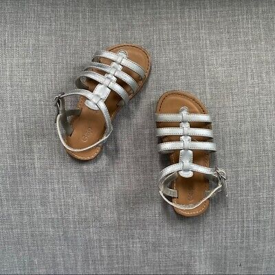 GAP Kids Silver Metallic Leather Flat Gladiator Sandals Toddler Girls Size 9