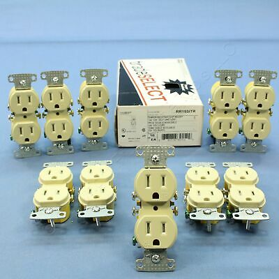 10 Hubbell Ivory TAMPER RESISTANT Duplex Receptacle Outlets 5-15R 15A RR15SITR