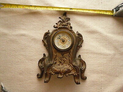 Antique Cast Iron Mantle clock Vintage Cherubs Baroque  Made In USA  Wind Up