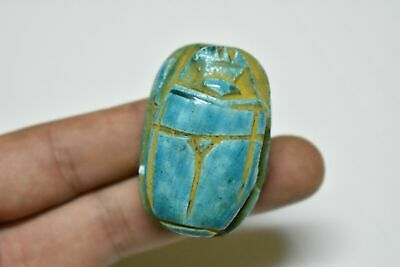 rare ancient Egyptian blue glazed faience scarab Late Period 672-332 BC b