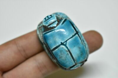 rare ancient Egyptian blue glazed faience scarab Late Period 672-332 BC c