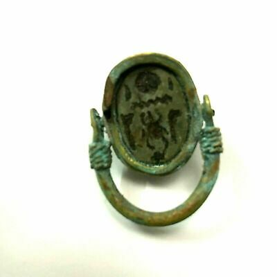 ancient Egyptian Copper ring with stone scarab size 9 Egypt 1069–664 BC d