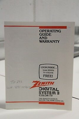 Zenith Digital Systems 3 Color TV Operating Guide Instruction Manual
