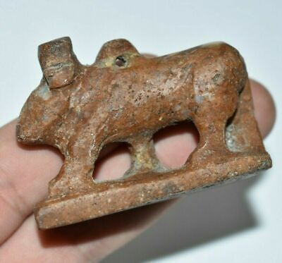 ANCIENT EGYPT ANTIQUE Egyptian STONE cow Hathor amulet Late Period 672-332