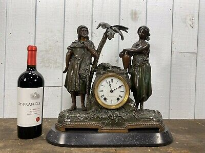 """Antique Seth Thomas Mantel Clock """"Rebecca at the Well"""" c1870 Painted Spelter"""
