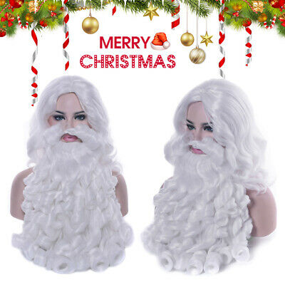 Christmas Santa Claus Long White Wig and Beard Adult Fancy Dress Costume