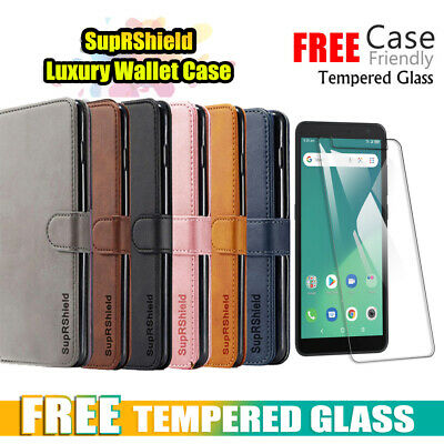 Telstra Essential Plus 2 Wallet Leather Flip Case Cover + Glass Screen Protector