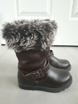 Debenhams Bluezoo Girls Winter Boots Brown Faux Fur Size 6 toddler