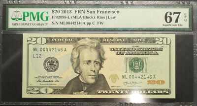 2013 United States San Francisco $20 Banknote PMG 67 Superb GEM UNC
