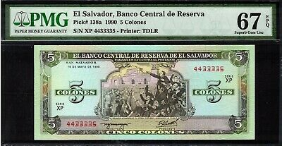 1990 El Salvador 5 Colones Banknote PMG 67 Superb GEM UNC