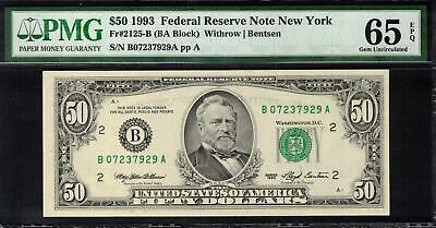 1993 United States New York $50 Banknote PMG 65 GEM UNC