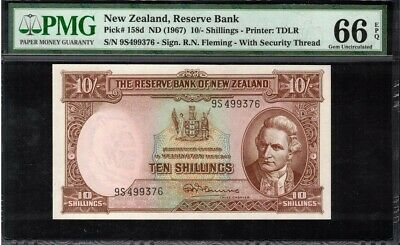 1967 New Zealand 10 Shillings Banknote PMG 66 GEM UNC