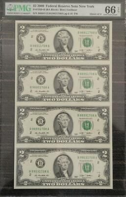 2009 United States New York Sheet of 4 $2 Banknotes PMG 66 GEM UNC