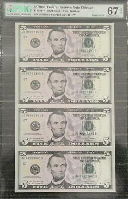 2009 United States Chicago Sheet of 4 $5 Banknotes PMG 67 Superb GEM UNC
