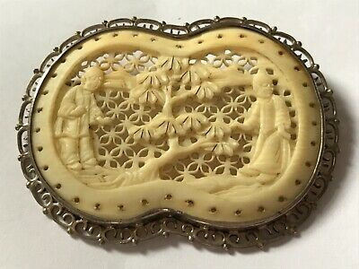 """Large Antique Victorian 1890's silver carved bovine brooch pin. 2 1/4"""""""