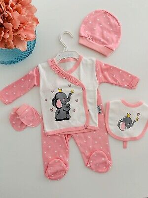 5 Piece Baby Girl Romper Newborn Hospital Outfit Set Gift Clothes Elephant 0-3 M