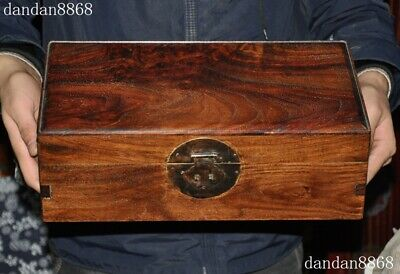 """14""""Chinese exquisite Huanghuali wood Handmade Cabinet Storage Container Box Case"""