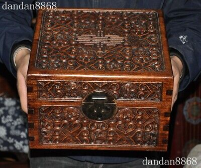 Old China exquisite Huanghuali wood Handmade  Storage Container Box Case Statue