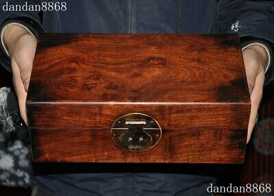 """12""""Chinese exquisite Huanghuali wood Handmade Cabinet Storage Container Box Case"""