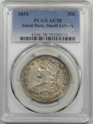 1834 Capped Bust Half Dollar - Small Date Small Letters Pcgs Au-58