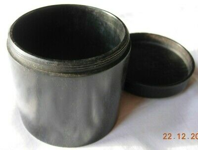 Vintage Ebony wooden treen lidded container 8 x 8cms Art Deco box Made in France