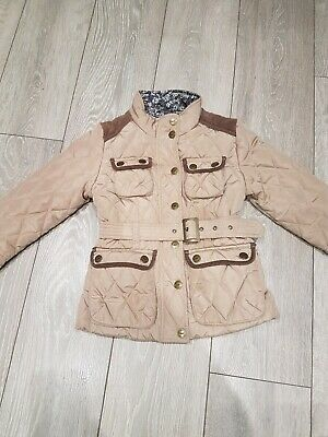 Next Girls Beige Gold Quilted Padded Jacket Coat Belt Belted Age 7-8 Years