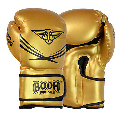 BOOM Green Leather Boxing Gloves MMA Sparring Punch Bag Fight Training Mitts