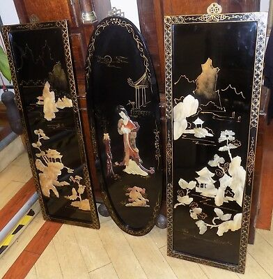 Oriental Japanese/Chinese mother - of - pearl lacquered inlaid painted panels