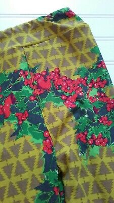 LuLaRoe Leggings Kid Girls Size L/XL Yellow Green Brown CHRISTMAS Trees Holly