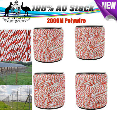 2000m Roll Electric Fence Polywire Energiser Poly Wire Insulator Grazing Control