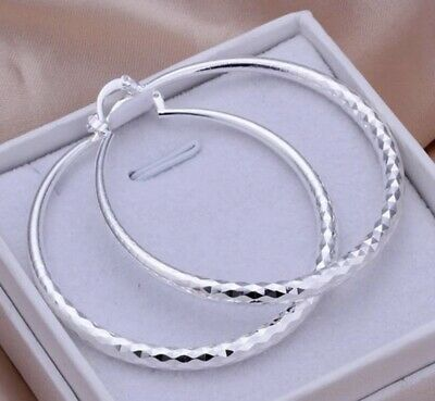 Diamond Cut 925 Sterling Silver Hoop Pierced Big Earrings Stylish Women 2 inch