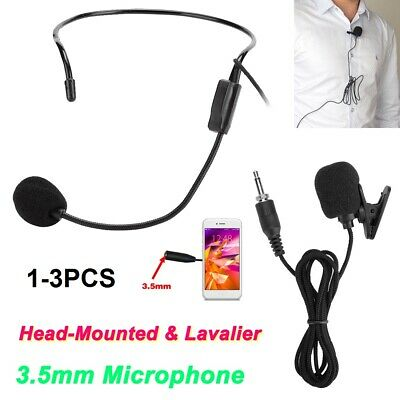 3PCS 3.5mm Condenser Headset Microphone Lapel Lavalier Clip On Mic for Phone PC