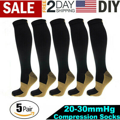 5 Pairs Copper Fit Energy Knee High Compression Socks Recovery Support Socks USA