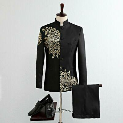 Mens Chinese Embroidery Slim Fit Tuxedo Wedding Suit Jacket Blazer Formal suit