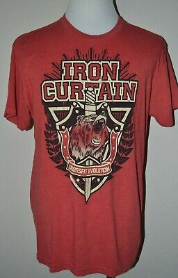Reebok Crossfit Evolution Mens Size XL Red Bear Iron Curtain Graphic T Shirt