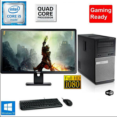 Gaming PC Desktop Computer i5 16GB 128GB SSD+1TB Win10 WIFI + Monitor+KB+MOUSE