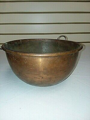 Antique COPPER BOWL With One Ring To Hang From