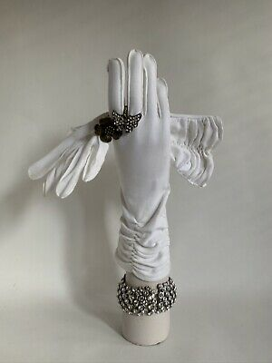 Vintage 1950s Cotton Simplex Outer Stitched Gathered White Evening Gloves Size 7