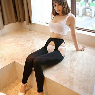 Sexy Women Ice Silk Hollow Out Open Crotch Transparent Leggings See Through