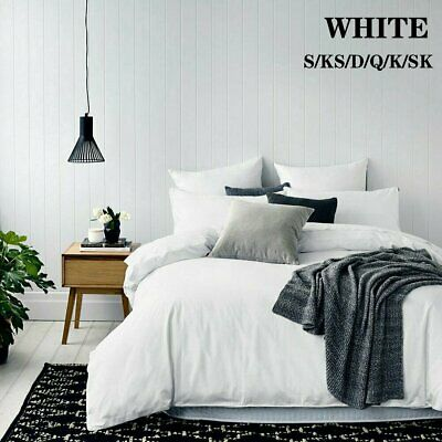 WHITE Tailored 1000TC Duvet/Doona/Quilt Cover Set Single/Double/Queen/King Size