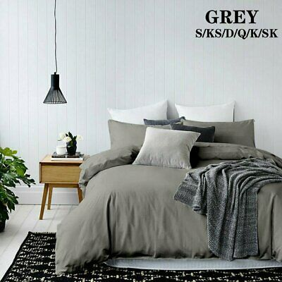 GREY Tailored 1000TC Duvet/Doona/Quilt Cover Set Single/Double/Queen/King Size