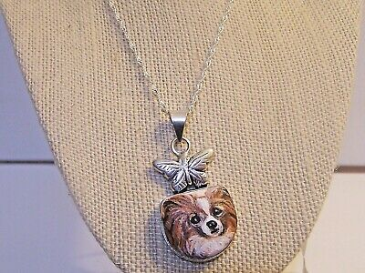 """hand painted Papillon gemstone pendant 18"""" sterling silver chain"""