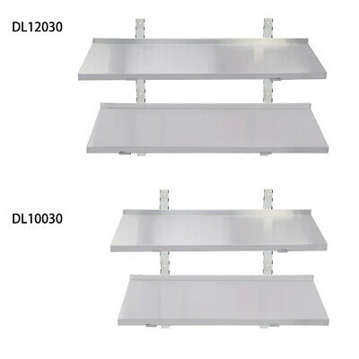 Stainless Steel Wall Shelf Mounted Kitchen Catering Shelves w/ Brackets