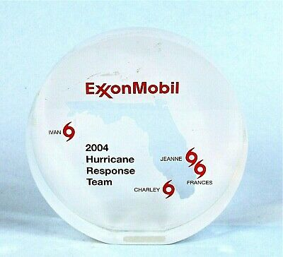 Exxon Mobile 2004 Florida Hurricane Response Team Lucite Paperweight Oddity