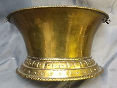 Antique Vintage Hand Hammered Brass Hanging Wall Pocket Planter 1/2 Vase Metal